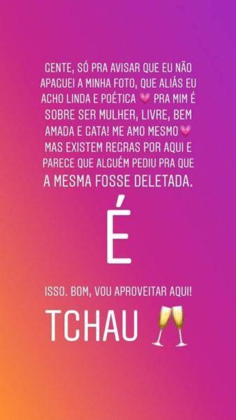 Juliana Silveira postou foto nua e teve a imagem retirada do Instagram