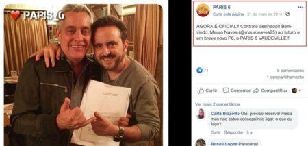 Mauro Naves segurando uma espécie de contrato ao lado de Isaac Azar, dono do Paris 6