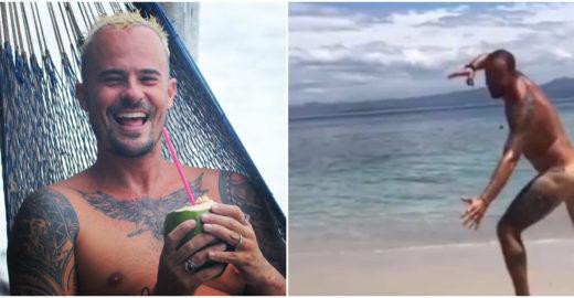 Paulinho Vilhena desafia Instagram ao postar vídeo pelado na praia