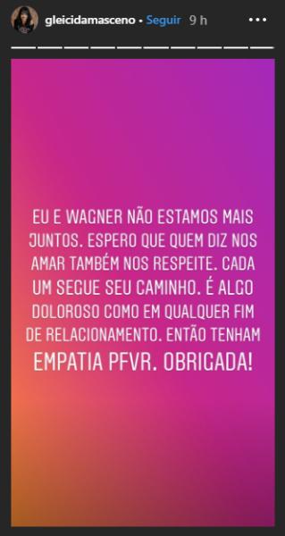 post do instagram em que gleici anuncia término com wagner