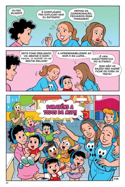 Personagem explica, nos quadrinhos, algumas das características do autismo