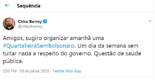 #QuartaFeiraSemBolsonaro: hashtag fica entre as mais comentadas