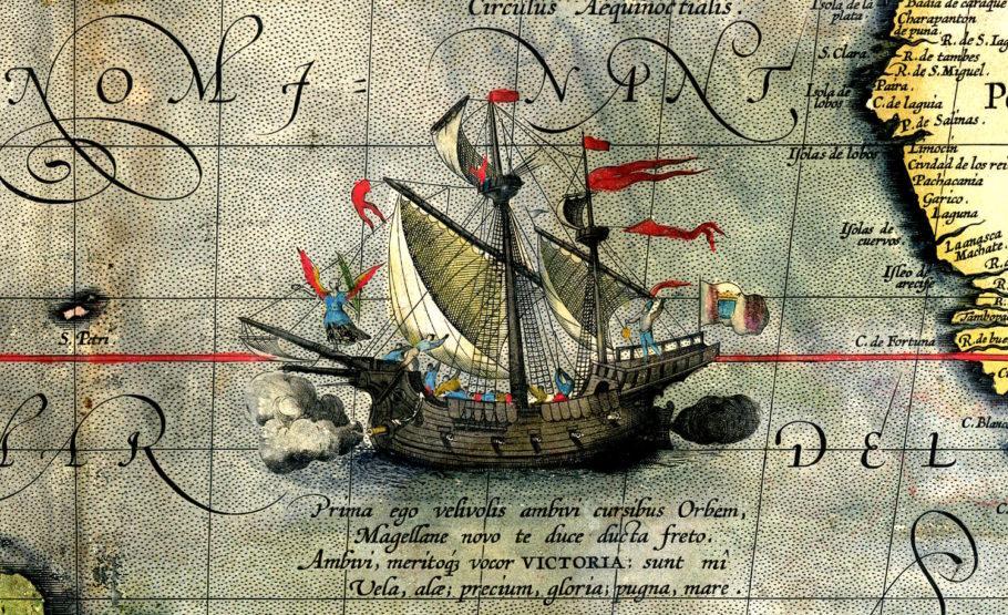 Nau Victoria em desenho feito pelo cartógrafo Abraham Ortelius