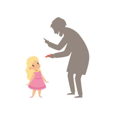 desenho de um estranho oferecendo um doce para uma menina pequena