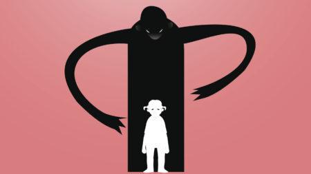 desenho de uma sombra estranha para atacar por trás uma criança pequena