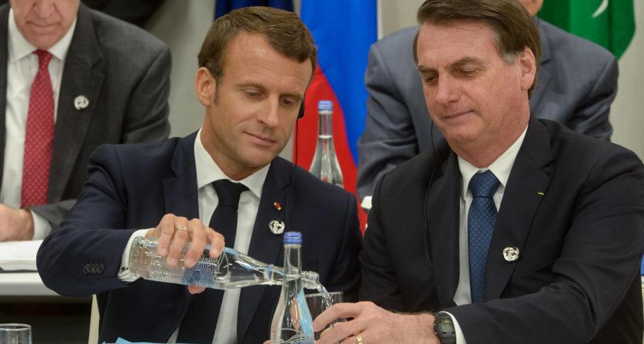 Macron e Bolsonaro em reunião do G20