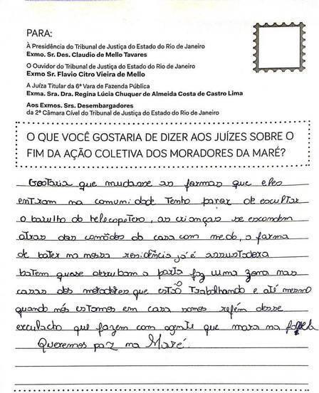 carta feita por morador da Maré