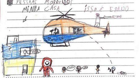 Desenho de uma criança mostra a violência cotidiana que atinge a Maré