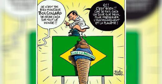 Bolsonaro é retratado na Charlie Hebdo fazendo cocô no Brasil