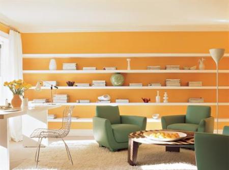 casa com a parede laranja