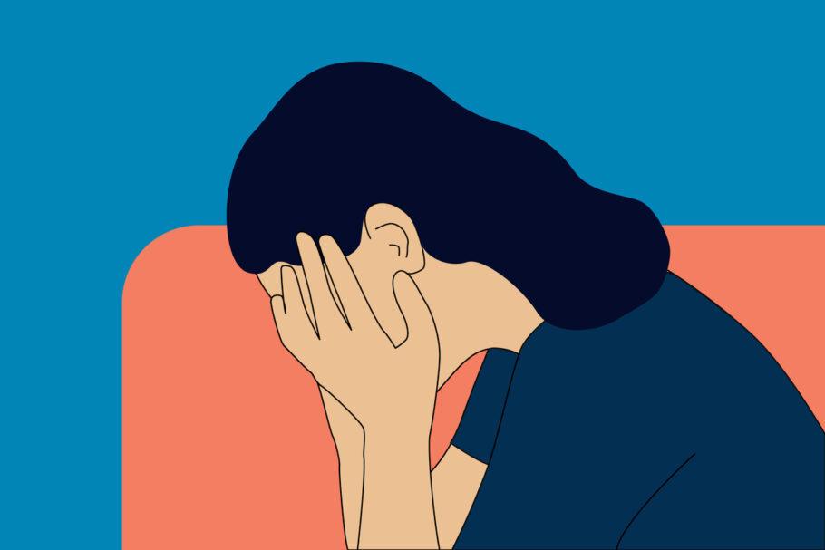 ilustração de uma mulher com as mãos no rosto