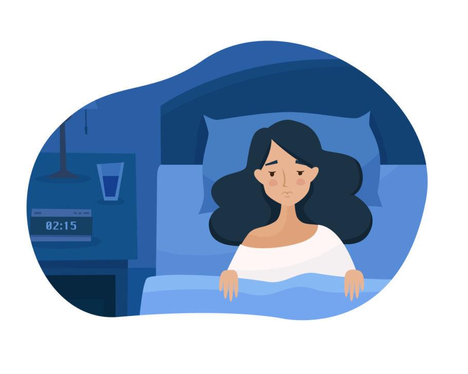 ilusração mostra mulher triste com dificuldades de dormir