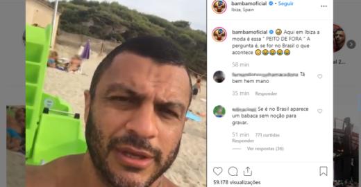 Ex-BBB Kleber Bambam filma mulher fazendo topless sem autorização dela