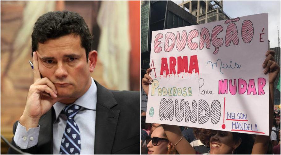 Moro e cartaz de protesto pela educação