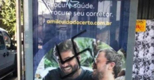 Propaganda com casal gay é pichada com suástica no Rio de Janeiro