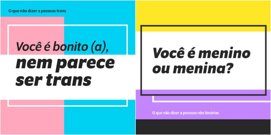 cards sobre o que não dizer a pessoas trans ou não binárias