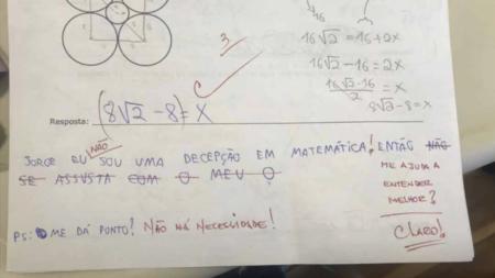professor fofo desabafo aluna prova