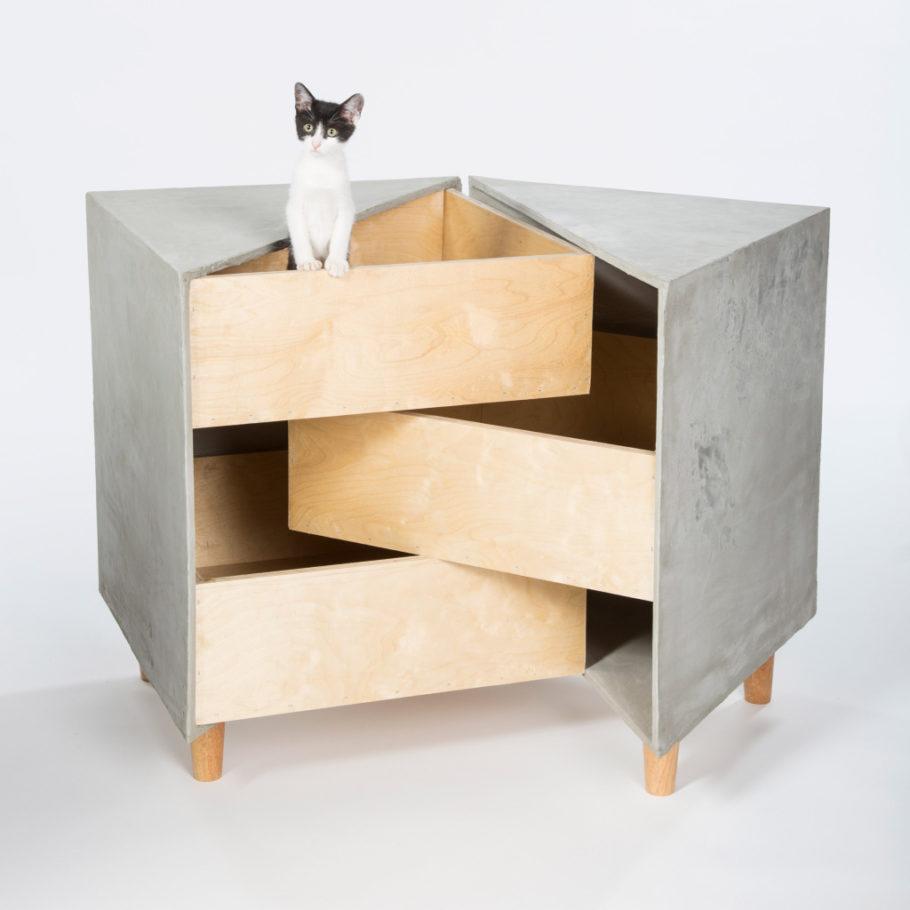 casa para gato com cara de gaveta