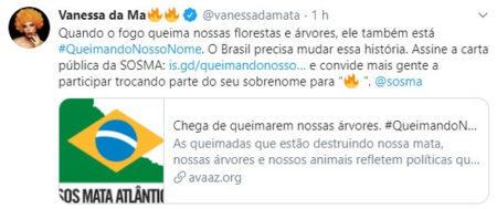 Vanessa da Mata aderiu à campanha