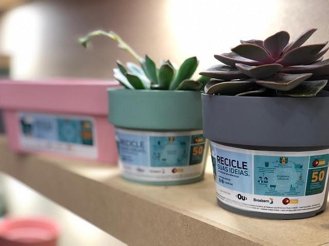 Tampinhas de plástico são transformadas em vasos para plantas