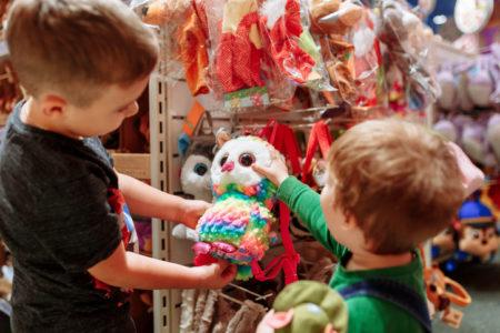 crianças em loja de brinquedo