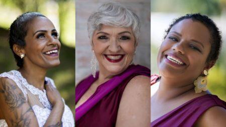 mulheres que venceram o câncer de mama posam para foto