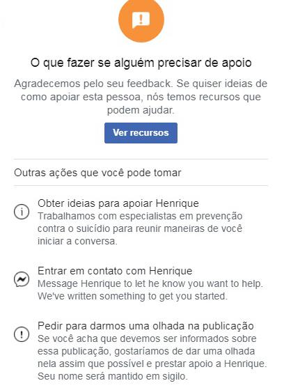 ferramenta de denúncia de post ao Facebook