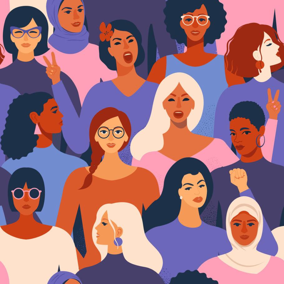 ilustração com várias mulheres