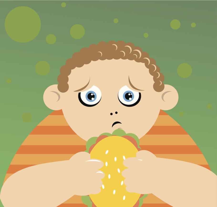 ilustração de menino comendo com culpa