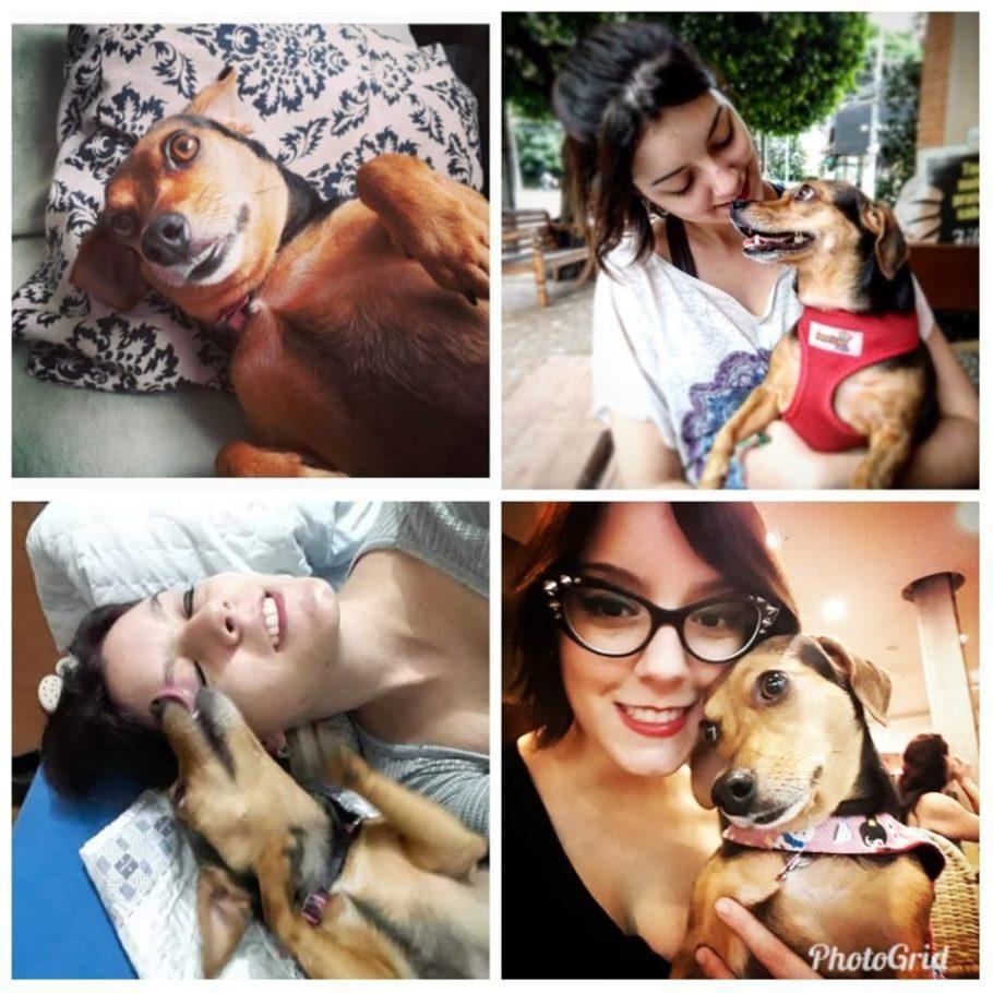 várias fotos de mulher com cachorrinha