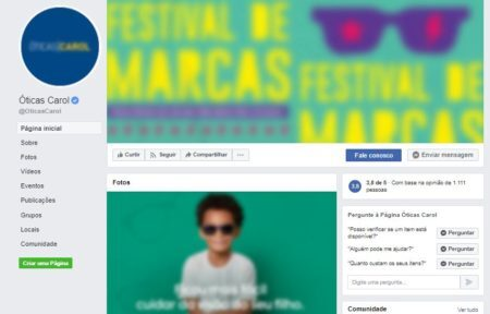 Página do Facebook das Óticas Carol
