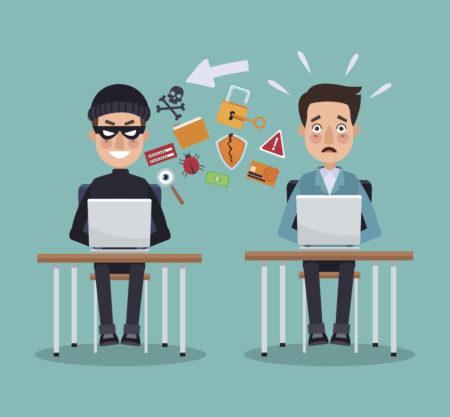 ilustração com dois homens mexendo no computador, um deles praticando crimes virtuais