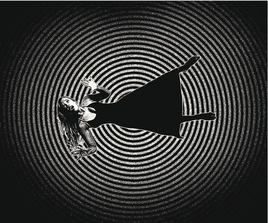 mulher caindo em um espiral preto e branco