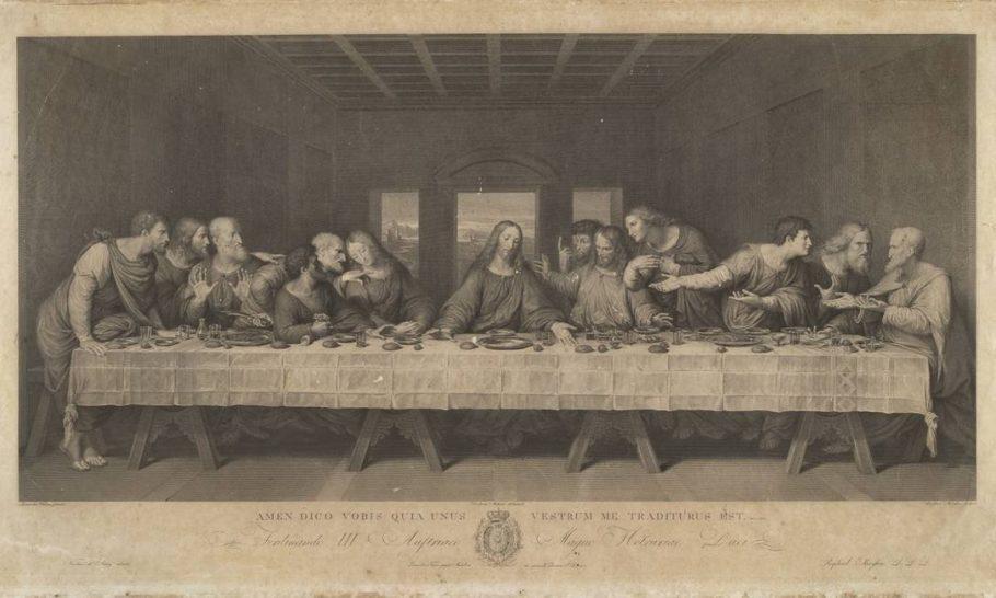 Gravura que reproduz o quadro A Última Ceia de Leonardo Da Vinci