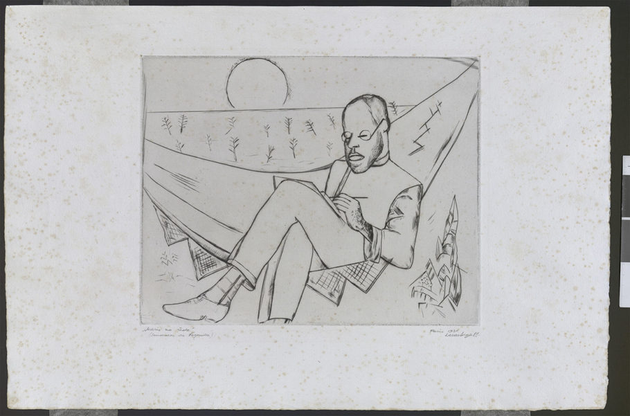 """Gravura """"Mario de Andrade na Rede 1930"""""""