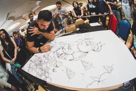 artista desenha ao vivo durante o pixel show
