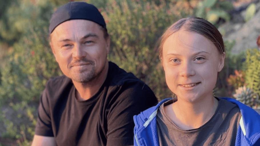 Os ativistas Leonardo DiCaprio e Greta Thunberg