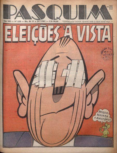 capa da edição 630 dO Pasquim na exposição O Pasquim 50 anos