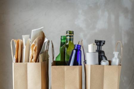 resíduos separados corretamente para a reciclagem do lixo