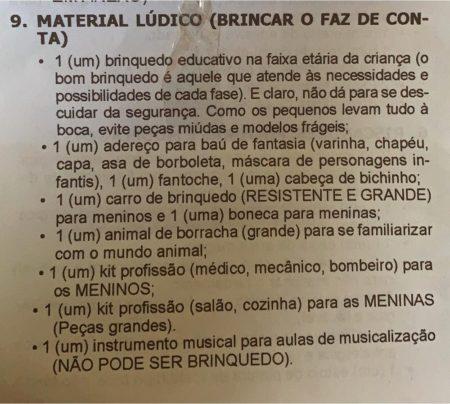 lista material escola kit médico cozinha meninos meninas