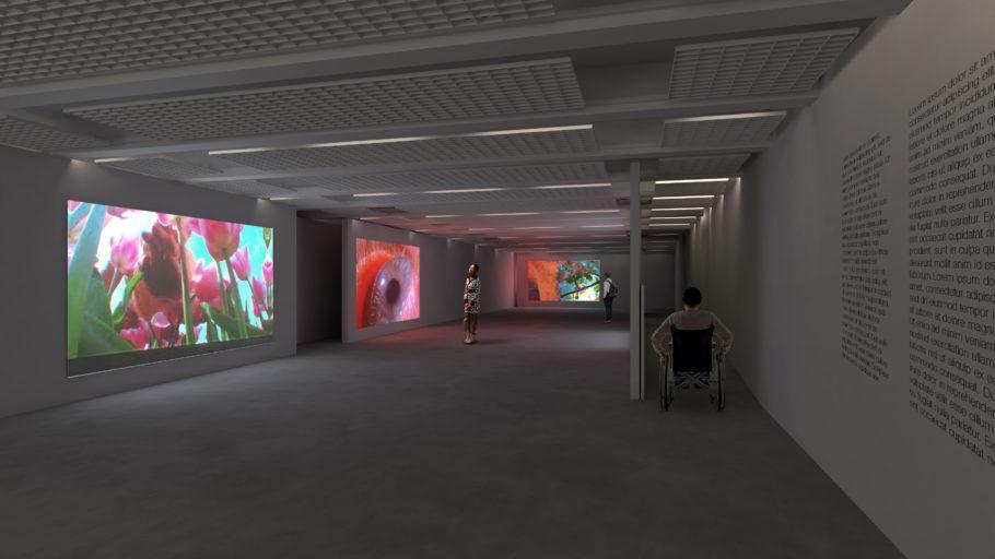 Projeção do espaço expositivo do Paço das Artes