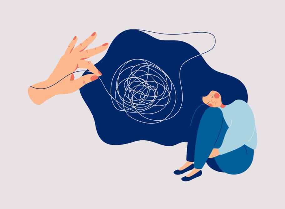 ilustração de uma mão puxando os pensamentos de uma menina triste
