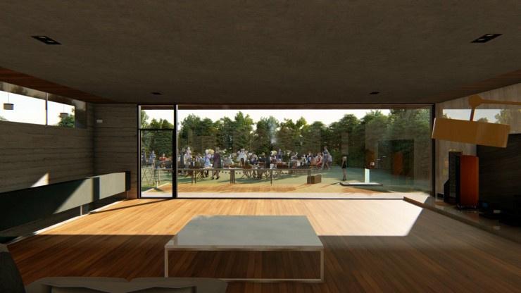 janela de vidro enorme dá vista ao jardim da casa do filme Parasita
