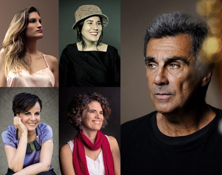 cantoras Gioia Persichetti, Mônica Salmaso, Leila Pinheiro e Anna Paes ao lado de Guinga