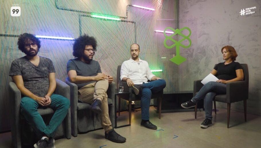 Pedro Keiner, Ismael dos Anjos, e Rafael Rios participam de bate-papo mediado por Paula Lago, coordenadora do #CarnavalSemAssédio