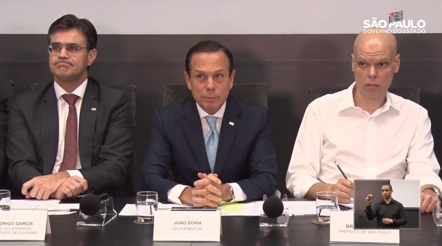 O governador João Doria e o prefeito Bruno Covas