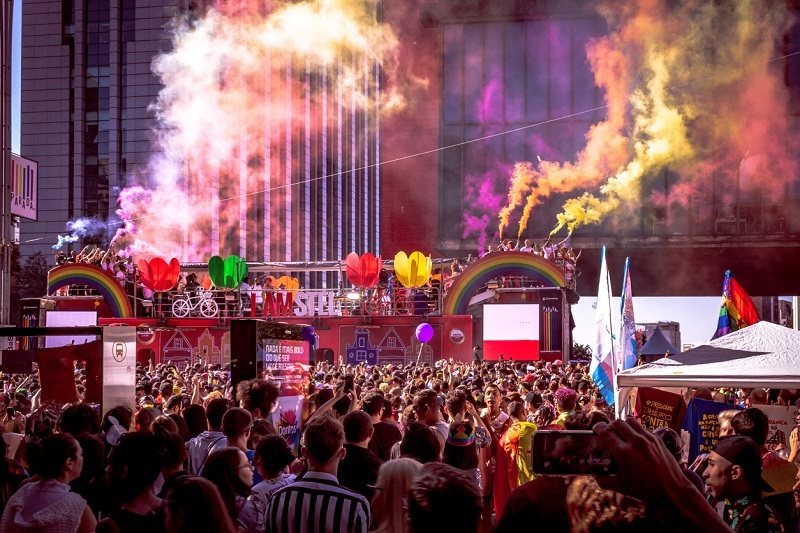 Sao Paulo, Sao Paulo, Brazil - June 23, 2019: LGBTQI Pride parade of Sao Paulo Brasil 2019 gays, lesbian, flags and crowd Gay community event with several costumed people and symbols