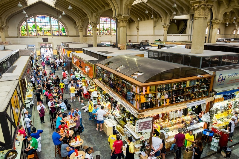 Sao Paulo, Brazil - March 14, 2015: General view of the traditional Municipal Market (Mercado Municipal), or Mercadao, in Sao Paulo, Brazil. sp fotos