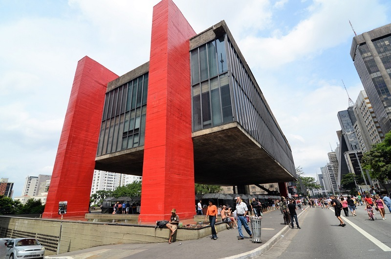 Masp is the most famous museum in São Paulo, Brazil. It's located on Avenida Paulista, the most famous street in the city. The color red on the pilars is its trademark, and on the weekend it's a popular destination with tourists, and locals alike.