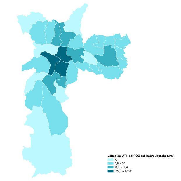 mapa mostrando onde leitos de UTI estão concentrados em São Paulo